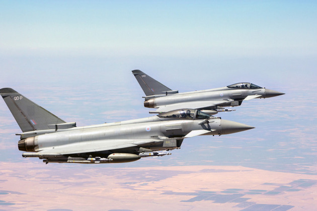 Royal Air Force Typhoons flying in support of Operation Shader, the Counter-Daesh mission. Crown copyright.
