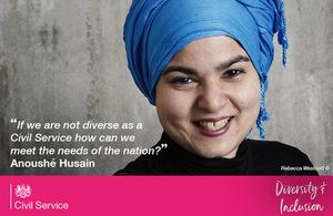 Anoushé Husain portrait with quote