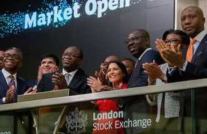 Priti Patel at the opening of the London Stock Exchange