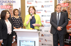 From right to left: Minister of Education and Science of Armenia Levon Mkrtchyan, HM Ambassador Judith Farnworth and Director of British Council Armenia Arevik Saribekyan welcoming the participants of the education expo