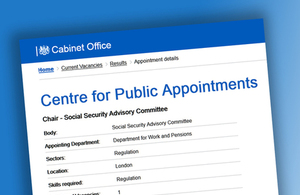 Vacancy: Chair of the Social Security Advisory Committee