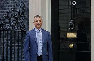 Imran Khan civil servant outside No. 10 Downing Street