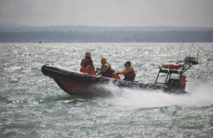 Picture of lifeboat in operation.