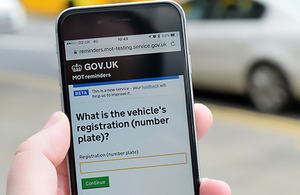 MOT reminders service on a mobile phone