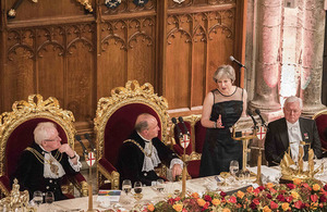 Theresa May speaking at the Lord Mayor's Banquet