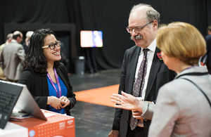 Pae Natwilai of Gettrik, with Sir Mark Walport, UK Research and Innovation and Ruth McKernan, Innovate UK