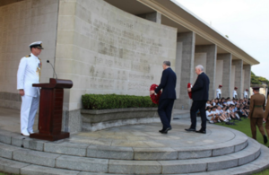 High Commissioner to Singapore Scott Wightman and Deputy Speaker of the House of Commons The Rt Hon. Lindsay Hoyle MP laying wreaths.