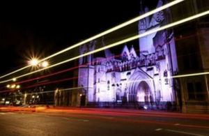 The Royal Courts of Justice at night
