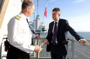Defence Secretary Gavin Williamson met Captain Jerry Kyd on HMS Queen Elizabeth while at sea.