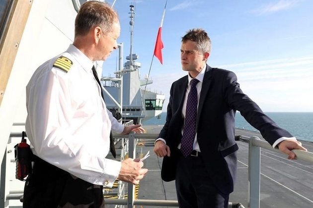 Defence Secretary Gavin Williamson met Captain Jerry Kyd on HMS Queen Elizabeth while at sea.