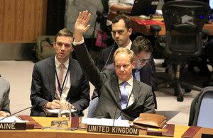 Ambassador Matthew Rycroft votes at the Security Council