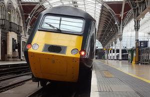Derailed power car at Paddington station