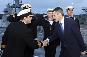 Defence Secretary Gavin Williamson is welcomed aboard HMS Sutherland. Crown copyright.