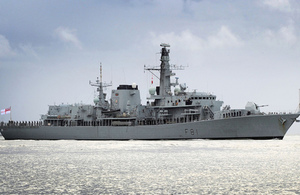 HMS Sutherland, the Type 23 Royal Navy frigate.