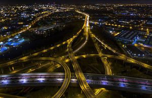 Aerial view of spaghetti junction in Birmingham