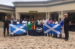 Photo of Zambia Police and Police Scotland training course participants in Lusaka
