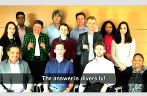 Group of civil servants with diversity subtitle/caption