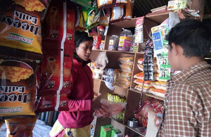 Pratima working in her shop in Nepal
