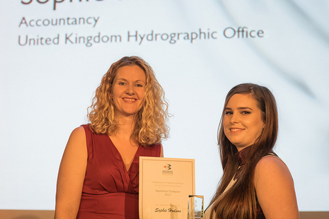 Sophie Hodson receiving the Apprenticeship Champion Award