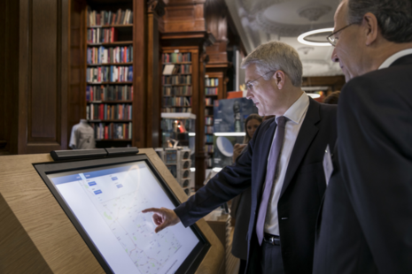 Exchequer Secretary Andrew Jones MP viewing an interactive map of the 2017 Pipeline