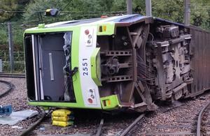 Image of overturned tram at Sandilands junction