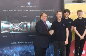 Picture of John Hayes with apprentices at the Reaction Engines visit.