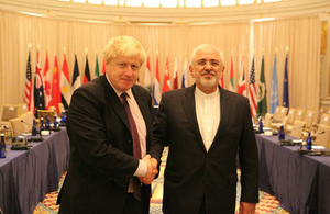 Foreign Secretary Boris Johnson with Iran Foreign Minister Zarif