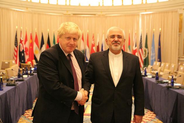 Foreign Secretary Boris Johnson with Iran Foreign Minister Zarif