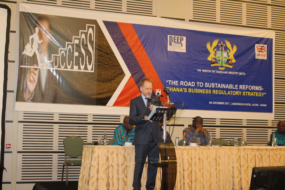 DFID Ghana Country director at launch of Ghana's Business Regulation Reform Strategy.