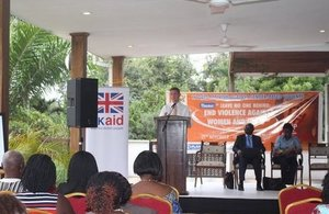 H.E. Iain Walker speaking at the Business Cost of Violence Against Women & Girls in Ghana forum.