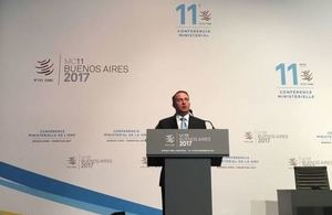 Liam Fox giving a speech at the WTO 11th Ministerial Conference