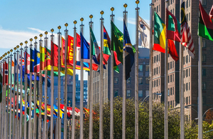 Country flags outside the UN building