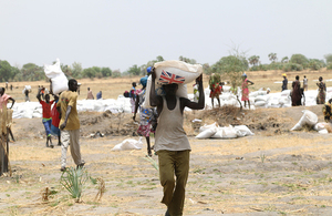 UK-funded food aid being distributed by the World Food Programme in South Sudan, April 2017. Picture: DFID/R.Oxley