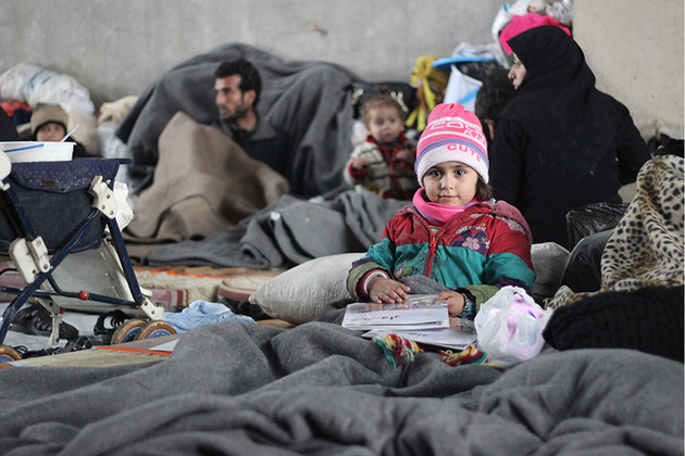 Displaced families taking refuge in a warehouse in Eastern Aleppo, December 2016. Picture UNICEF