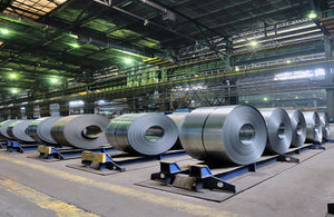Rolls of steel in a steel plant.