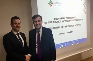 Minister Greg Hands with Bulgarian Deputy Energy Minister Zhecho Stankov.