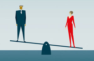Cartoon of man and woman at opposite ends of see-saw