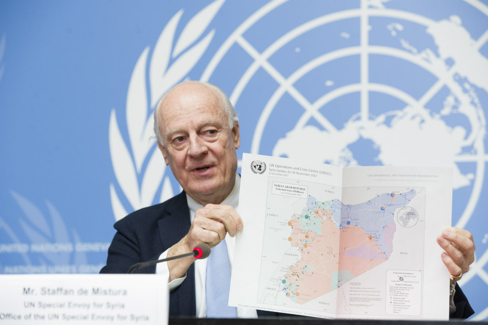 Staffan de Mistura, United Nations Special Envoy for Syria, briefs the press on the last day of the 8th round of the intra-Syrian talks in Geneva on 14 December, 2017. (UN Photo/Violaine Martin)