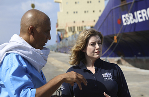 Secretary of State Penny Mordaunt visits a port in Djibouti from where UK aid is shipped to Yemen. Picture: Benet Coulber/DFID