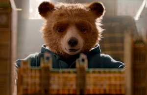 Still of Paddington bear from the film Paddington 2