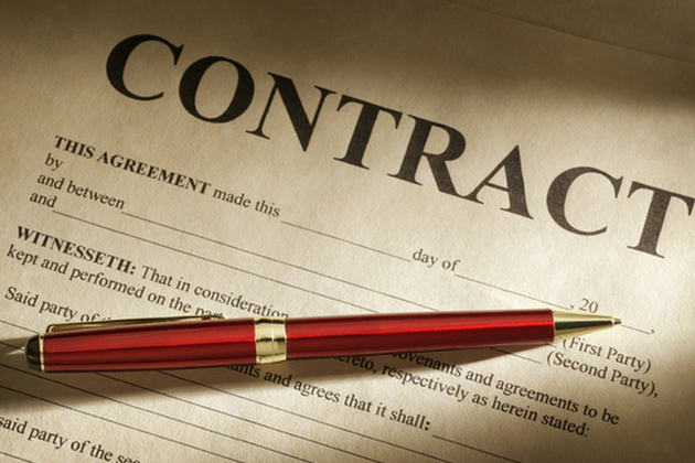 Contract and red pen