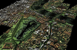 An image of London captured by the Environment Agency using laser-mapping technology
