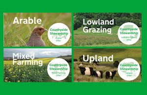 Four rural images representing arable, lowland grazing, mixed farming and upland