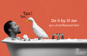 HMRC self assessment campaign image - duck in bath