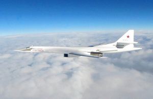 One of the Russian Blackjack Tupolev Tu-160 long-range bombers escorted out of the UK's area of interest