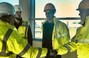 Aviation Minister meets apprentices on visit to Luton Airport.