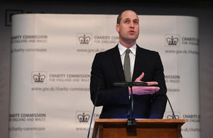 HRH Duke of Cambridge speaking at the Charity Commission public meeting