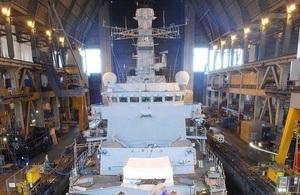 HMS Westminster in dry dock
