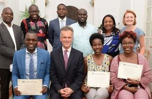 HMA John Dennis, HM Consul Primrose Lovett and Angolan Chevening Alumni from 2015/2016 and 2016/2017