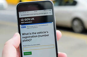 Get MOT reminders service being used on a mobile phone